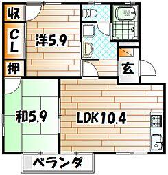 福岡県北九州市八幡西区御開4の賃貸アパートの間取り