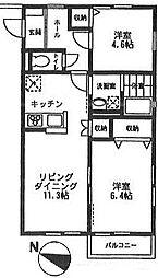 オーチャード・アパートメント B[204号室号室]の間取り