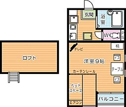 福岡県北九州市小倉北区下到津2丁目の賃貸アパートの間取り