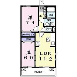 上鈎マンション 2階2LDKの間取り