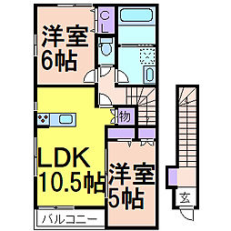 JR日光線 鹿沼駅 バス8分 貝島町下車 徒歩3分の賃貸アパート 2階2LDKの間取り