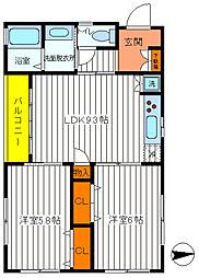 東京都福生市牛浜の賃貸アパートの間取り