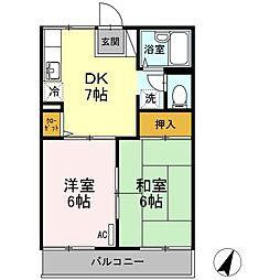 広島県尾道市栗原町の賃貸アパートの間取り