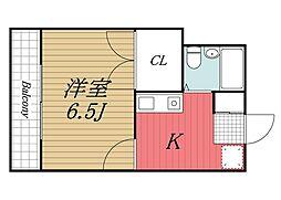 千葉県印西市大森の賃貸アパートの間取り