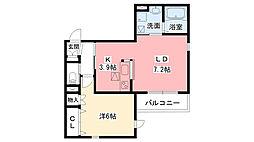 阪急神戸本線 西宮北口駅 徒歩12分の賃貸マンション 1階1LDKの間取り