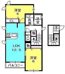 シャーメゾンロイヤル夙川[201号室]の間取り
