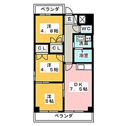 愛知県名古屋市天白区山郷町の賃貸マンションの間取り