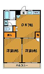 東京都国分寺市西元町の賃貸マンションの間取り