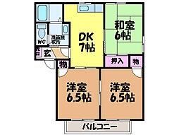 愛媛県松山市三町1丁目の賃貸アパートの間取り