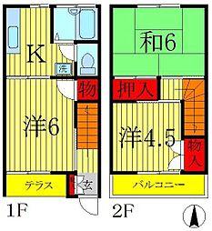 [テラスハウス] 千葉県松戸市新松戸7丁目 の賃貸【/】の間取り