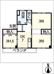 東丘住宅E棟 405号室[4階]の間取り