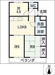 マンション緑黒石B棟[4階]の間取り