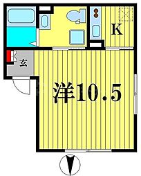 エアリアル錦糸町 4階1Kの間取り