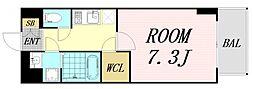 おおさか東線 南吹田駅 徒歩14分の賃貸マンション 2階1Kの間取り