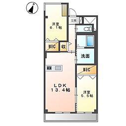 (仮称)友岡2丁目新築マンション 3階2LDKの間取り
