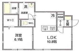 神奈川県秦野市ひばりケ丘の賃貸アパートの間取り