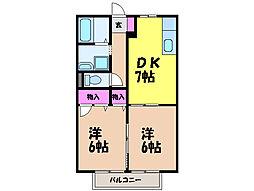 愛媛県松山市空港通2丁目の賃貸アパートの間取り
