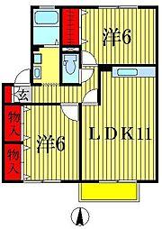 千葉県松戸市八ヶ崎6丁目の賃貸アパートの間取り