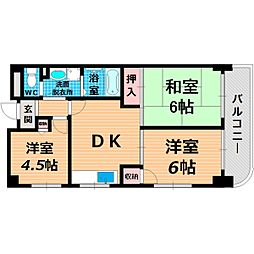 Osaka Metro今里筋線 新森古市駅 徒歩2分の賃貸マンション 3階3DKの間取り