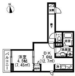 ドエルコート 2階1DKの間取り
