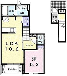 香川県高松市福岡町4丁目の賃貸アパートの間取り