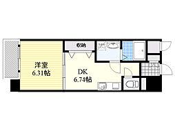 IMASA・MORUGEN壱番館 2階1DKの間取り