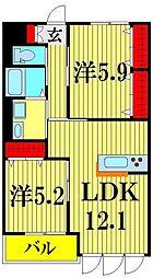 埼玉県越谷市レイクタウン1丁目の賃貸マンションの間取り
