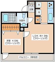 タナキアアパート[202号室]の間取り