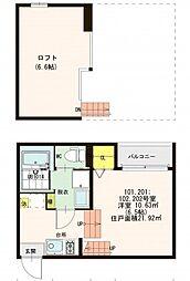 仮)山科区東野八反畑町SKHコーポ[2階]の間取り
