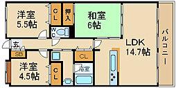 ファミールパーク鶴見 6階3LDKの間取り