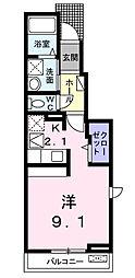 愛媛県松山市小栗3丁目の賃貸アパートの間取り