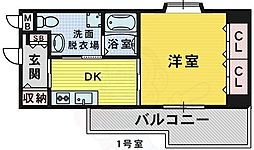 Osaka Metro御堂筋線 なかもず駅 徒歩2分の賃貸マンション 2階1DKの間取り
