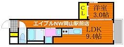 月光 岡山昭和町壱番館 1階1LDKの間取り