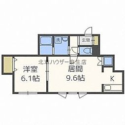 JR学園都市線 新川駅 徒歩11分の賃貸アパート 2階1LDKの間取り