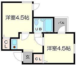 西三国一番館[3階]の間取り
