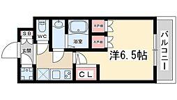 おおさか東線 JR淡路駅 徒歩5分の賃貸マンション 7階1Kの間取り