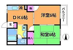 東京都調布市上石原3丁目の賃貸アパートの間取り