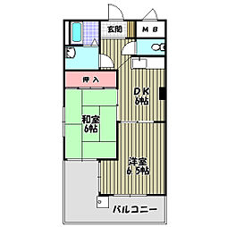 大阪府堺市中区福田の賃貸マンションの間取り