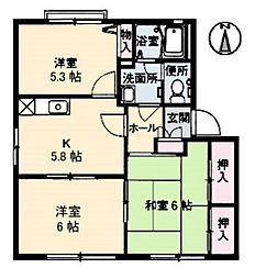 広島県広島市南区宇品神田2丁目の賃貸アパートの間取り