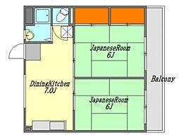 広島県廿日市市桜尾本町の賃貸マンションの間取り