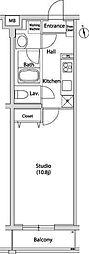 東急東横線 代官山駅 徒歩5分の賃貸マンション 2階1Kの間取り