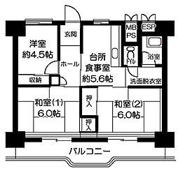 横浜若葉台[3-4-1201号室]の間取り