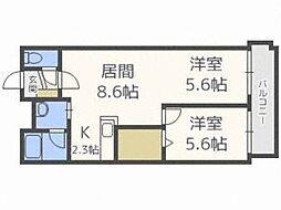 アーバンコート栄町 1階2LDKの間取り