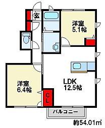 サンモールコリーヌD[2階]の間取り