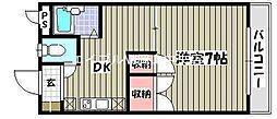 岡山県岡山市北区津島新野2丁目の賃貸マンションの間取り