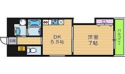 大阪府大阪市東住吉区東田辺2丁目の賃貸マンションの間取り