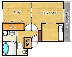 大阪府茨木市上郡2丁目の賃貸アパートの間取り