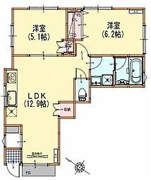 JR山手線 大崎駅 徒歩8分の賃貸アパート 1階2LDKの間取り