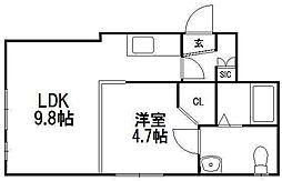 MARUYAMA−STUDIO(マルヤマスタジオ)[1D号室]の間取り