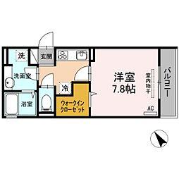 JR可部線 下祇園駅 徒歩2分の賃貸アパート 3階1Kの間取り